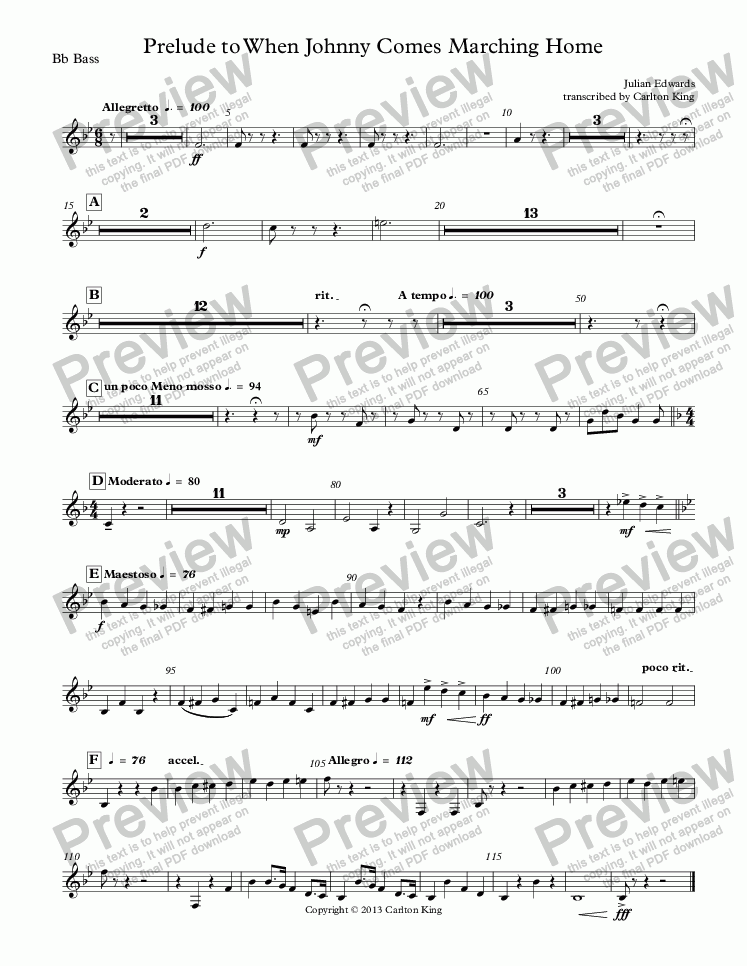 page one of the Bb Bass part from When Johnny Comes Marching Home - Prelude