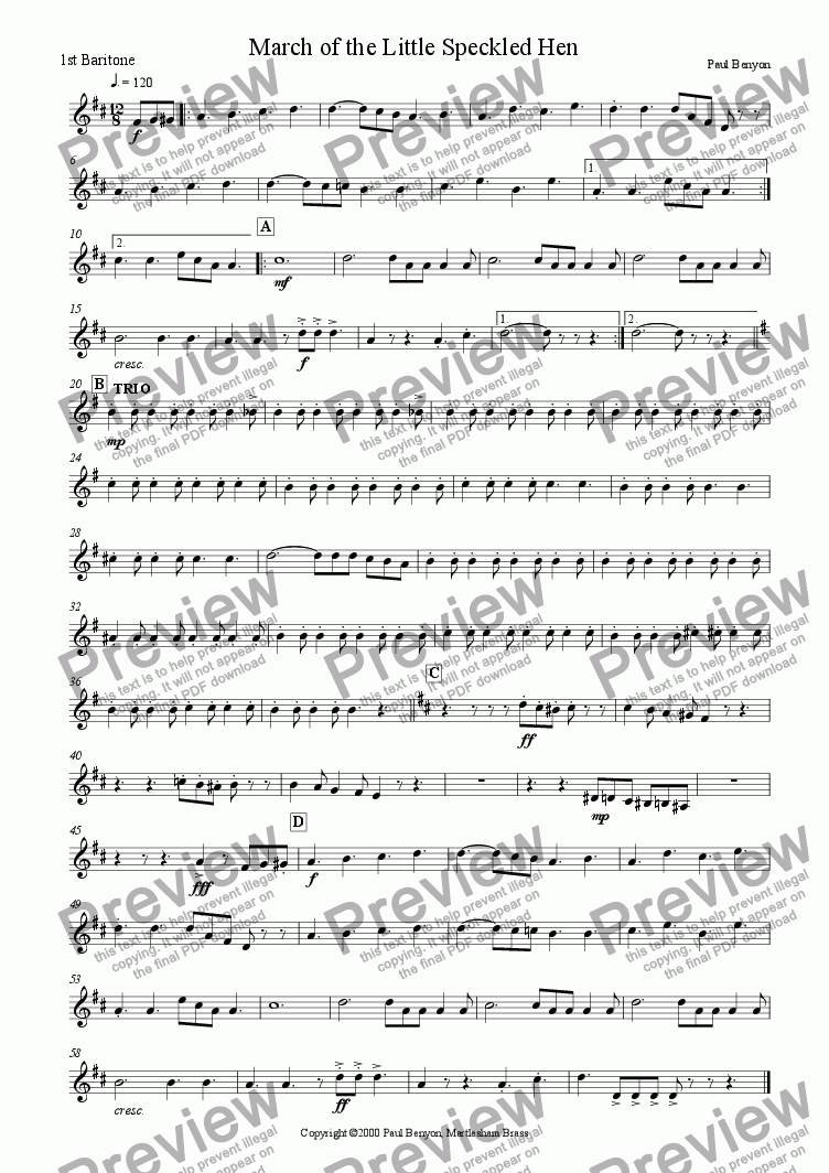 page one of the 1st Baritone part from March of the Little Speckled Hen
