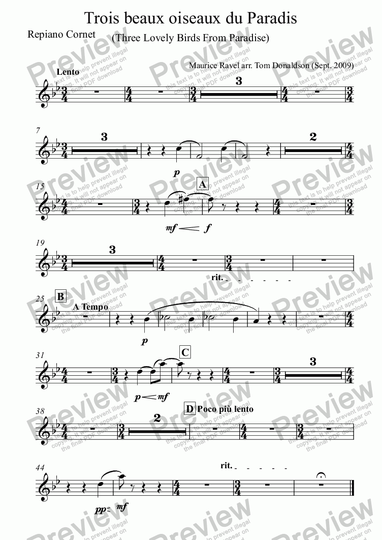 page one of the Repiano Cornet part from BRASS BAND - Trois beaux oiseaux du Paradis