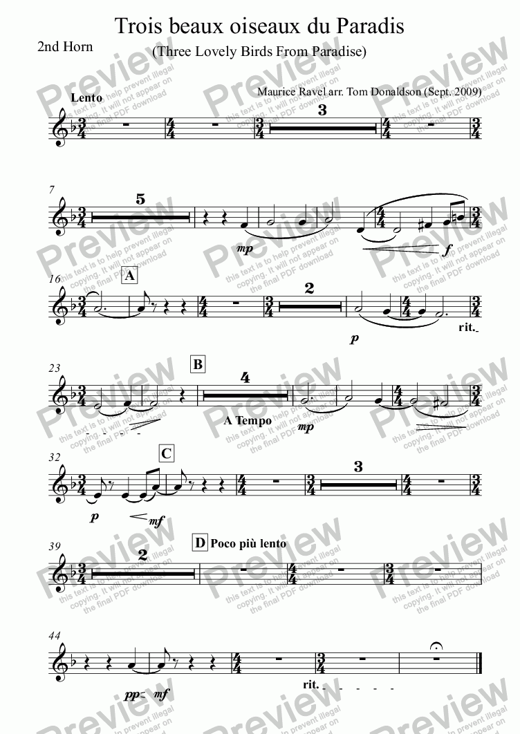 page one of the 2nd Horn part from BRASS BAND - Trois beaux oiseaux du Paradis