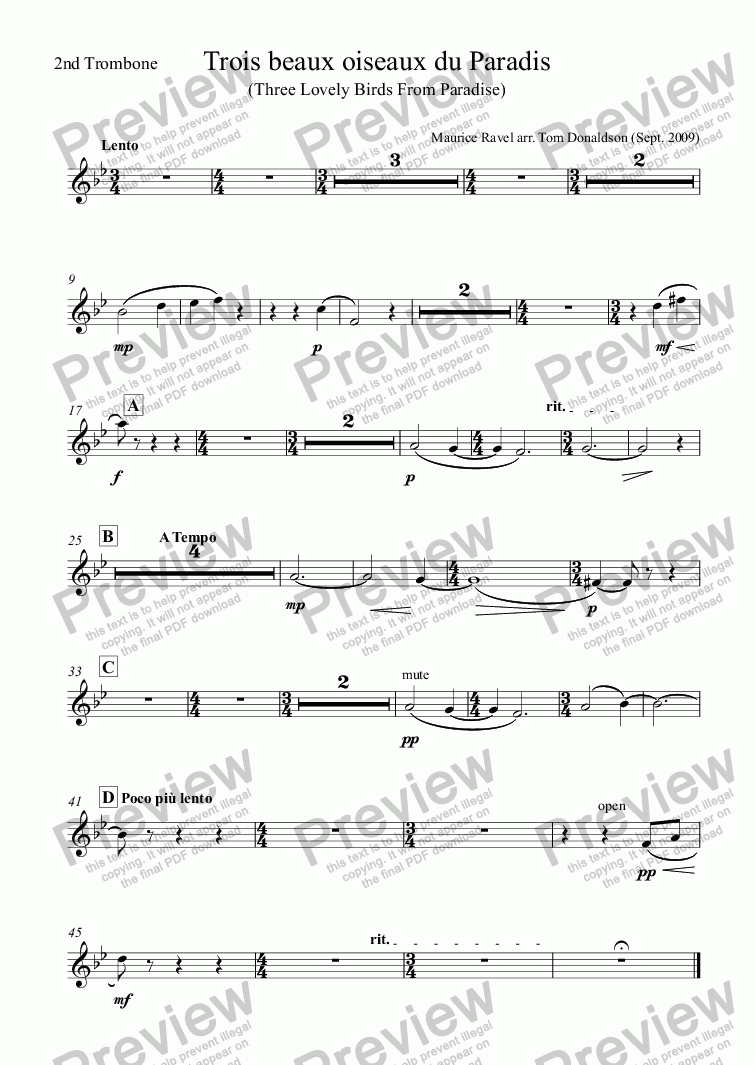 page one of the 2nd Trombone part from BRASS BAND - Trois beaux oiseaux du Paradis