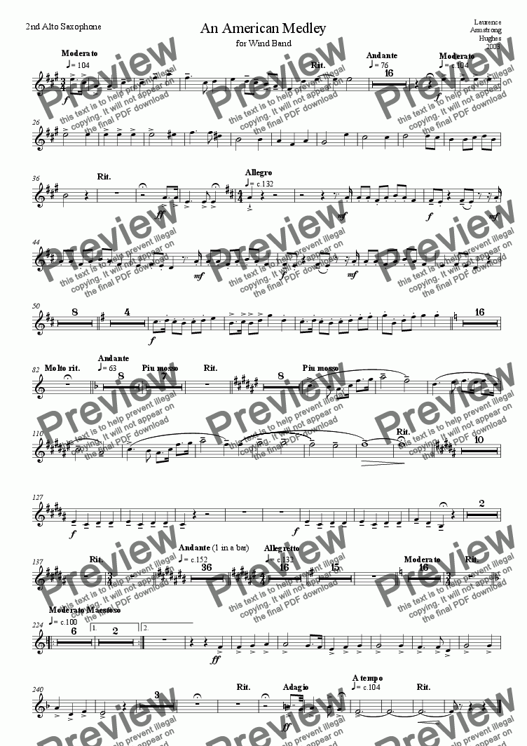 page one of the 01 2nd Alto Saxophone part from American Medley for Band