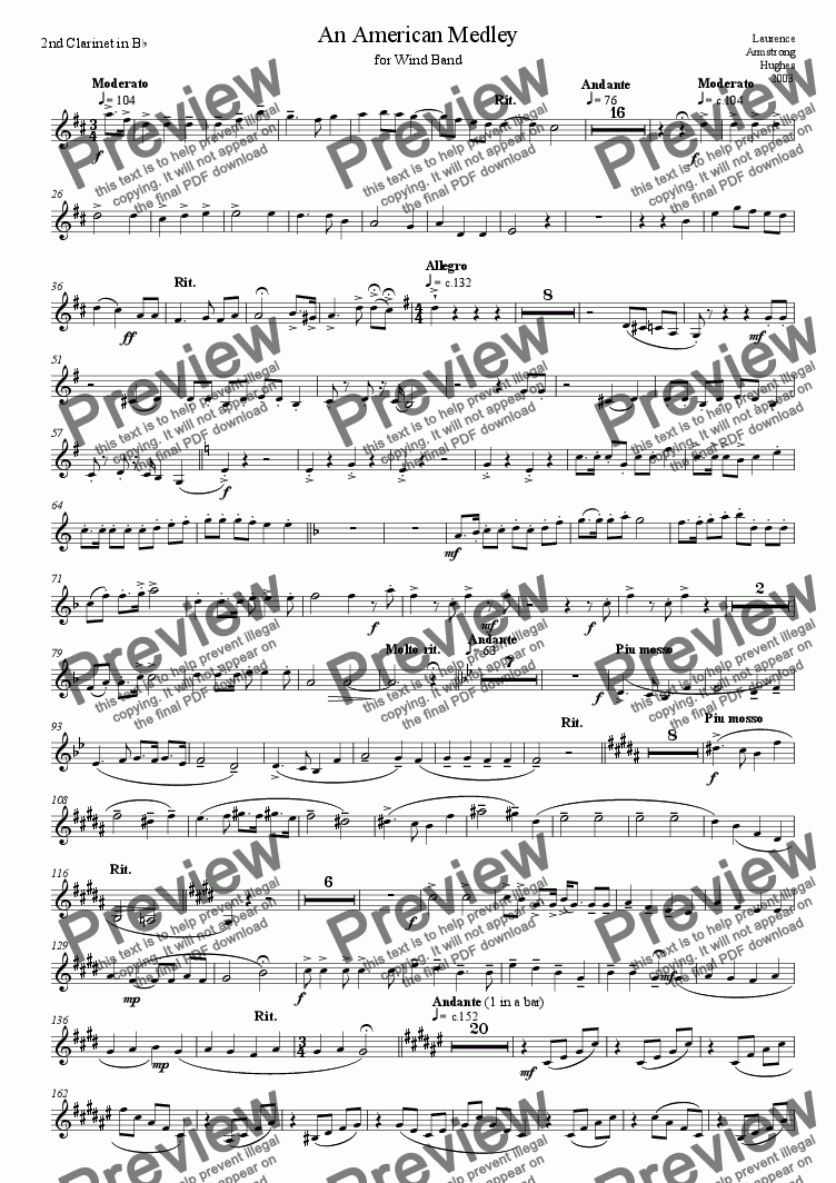 page one of the 01 2nd Clarinet in Bb part from American Medley for Band