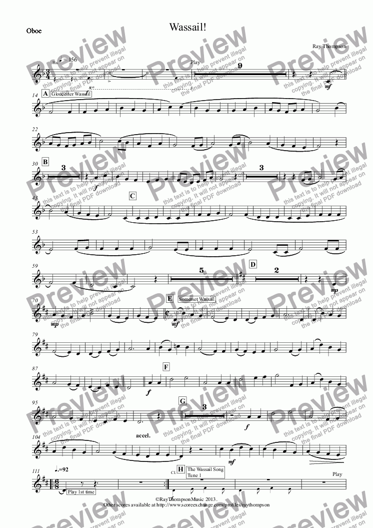 page one of the Oboe part from Wassail! (Wind Quintet) (includes :Gloucester Wassail, Somerset Wassail and The Wassail Song.)