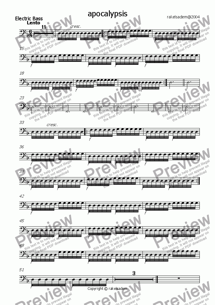 page one of the bass part from apocalypsis