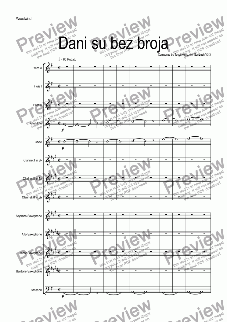 page one of the Woodwind part from Dani su bez broja
