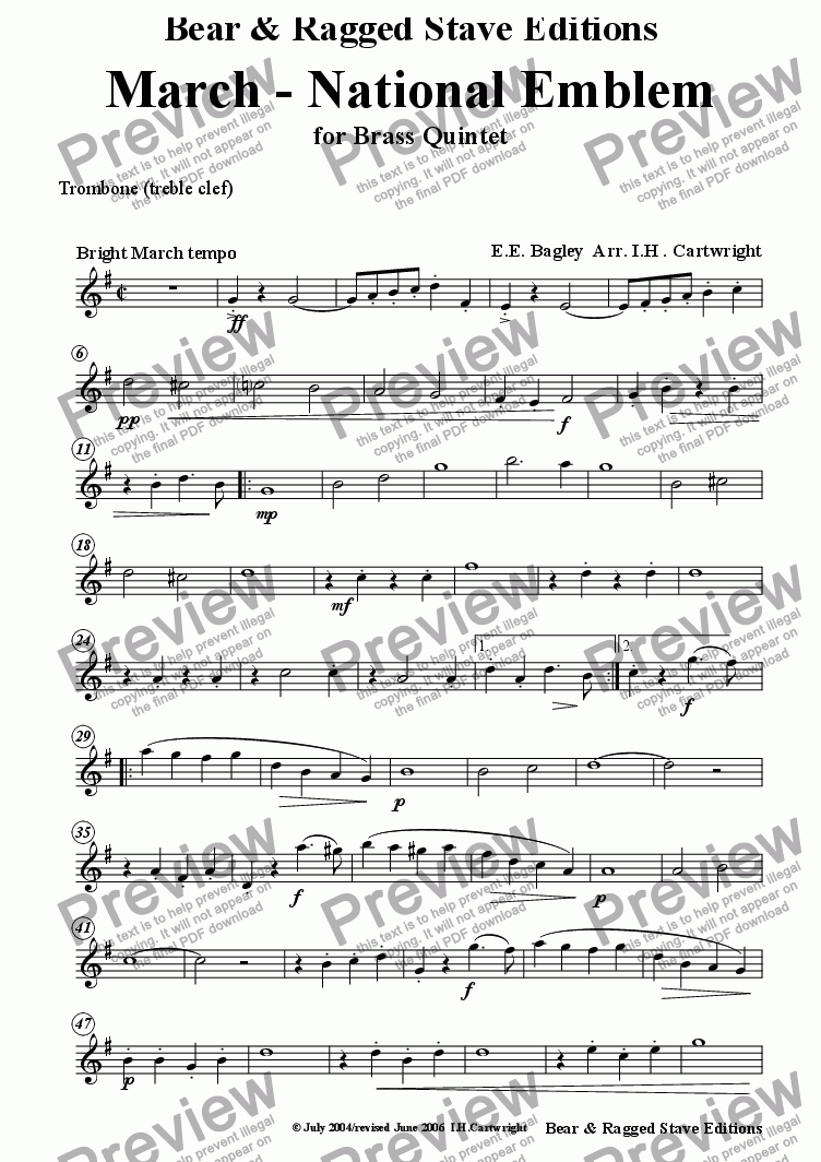 page one of the trombone (treble clef) part from March - National Emblem for Brass Quintet