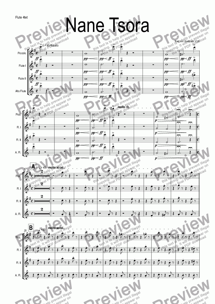 page one of the Flute 4tet part from Nane Tsora