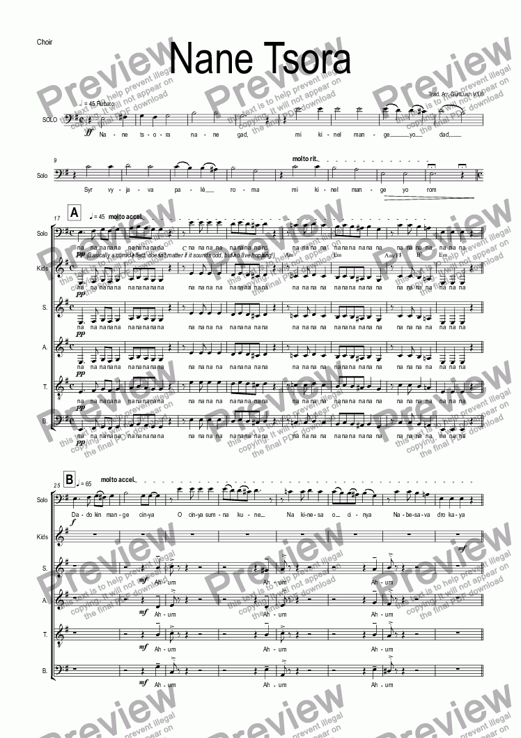 page one of the Choir part from Nane Tsora