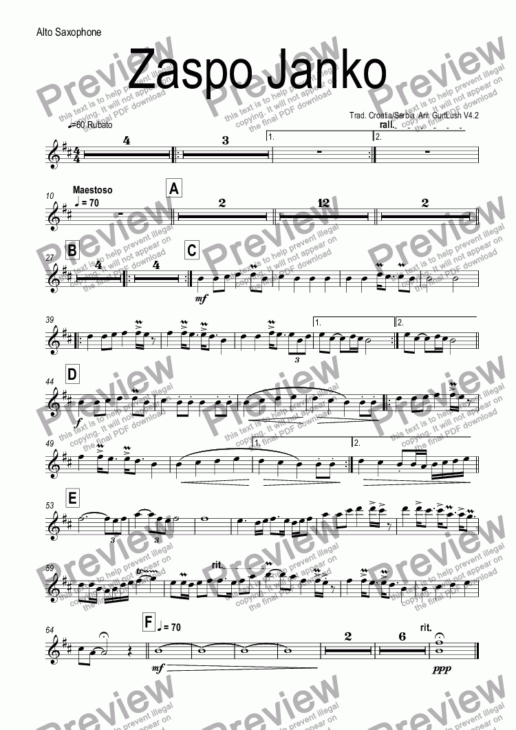 page one of the Alto Saxophone part from Zaspo Janko (Lepe Moje)