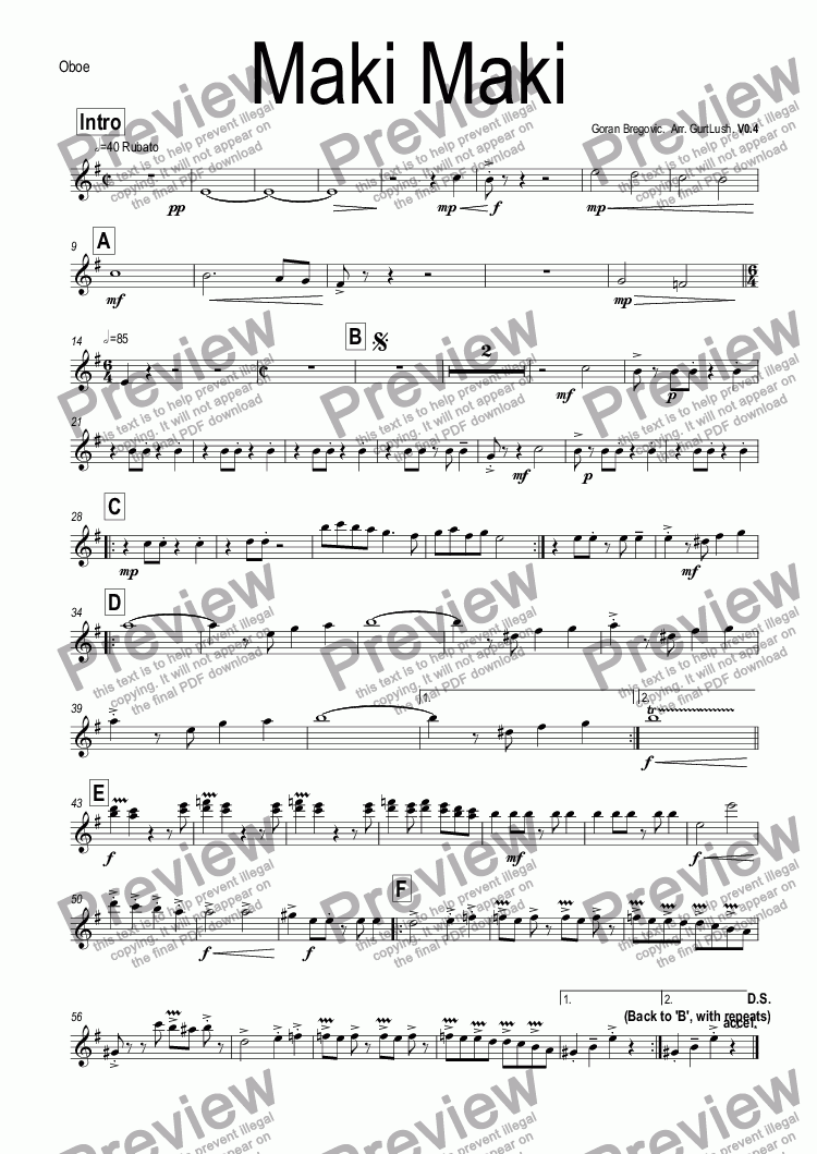 page one of the Oboe part from Maki Maki