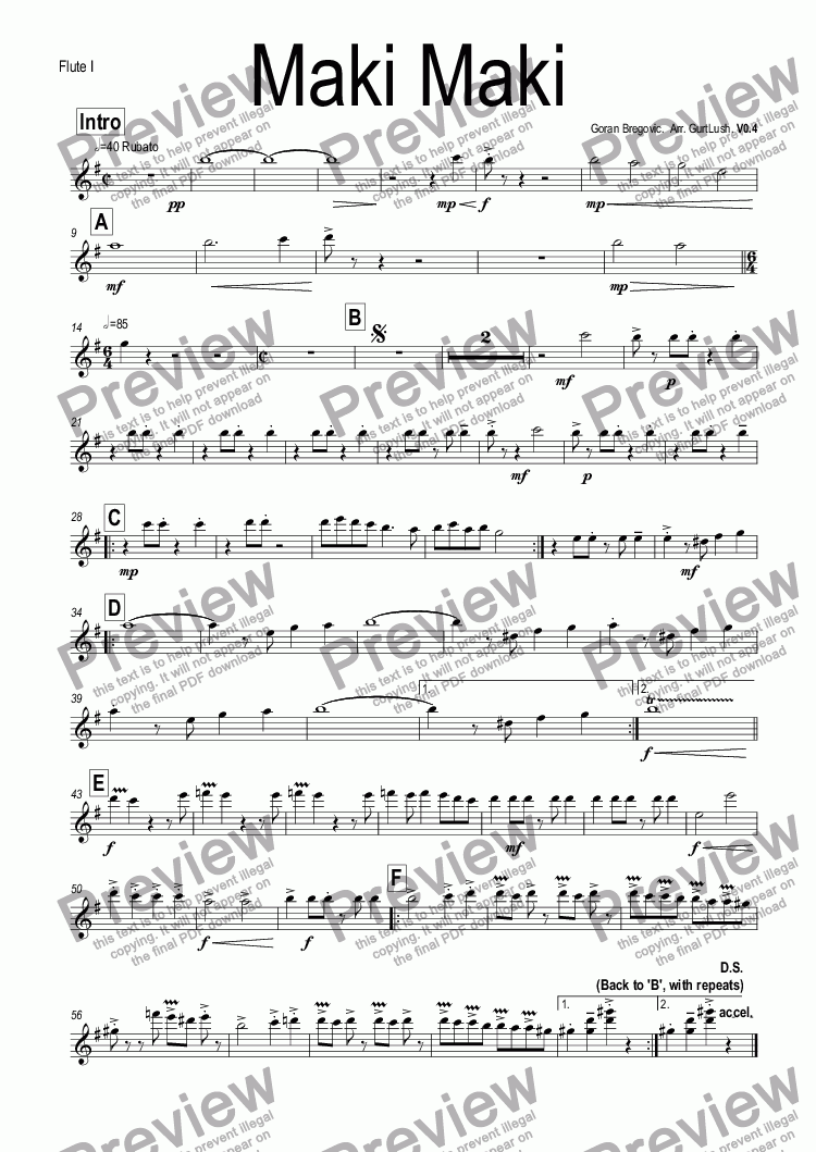 page one of the Flute I part from Maki Maki