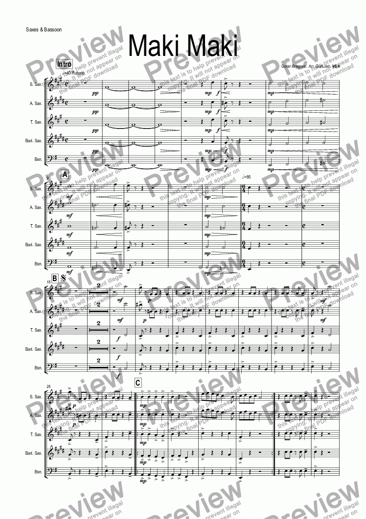 page one of the Saxes & Bassoon part from Maki Maki