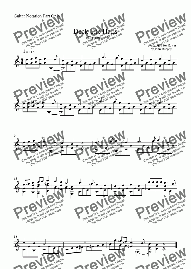 page one of the Guitar Notation Part Only part from Deck The Halls
