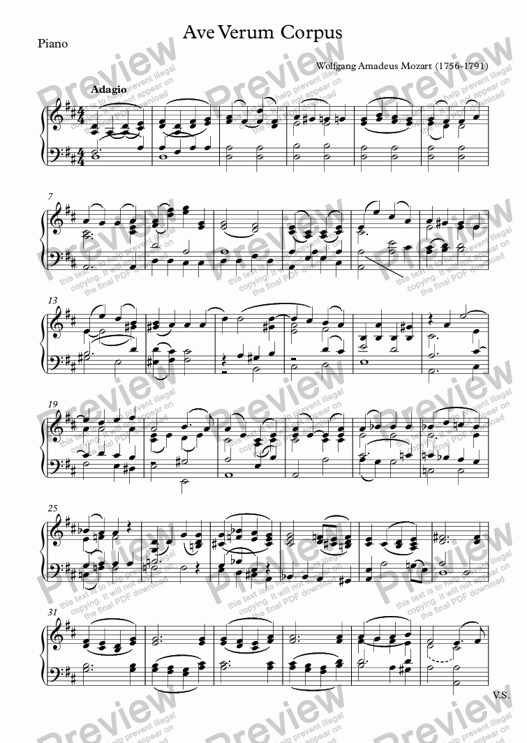 page one of the Piano part from Ave Verum Corpus