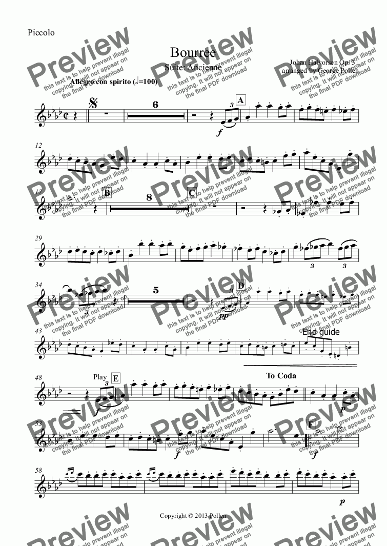 page one of the Piccolo part from Bourree [Suite ancienne] (CB)