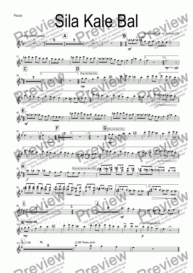 page one of the Piccolo part from Sila Kale Bal