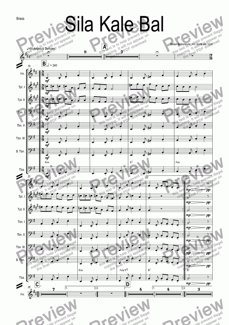 page one of the Brass part from Sila Kale Bal