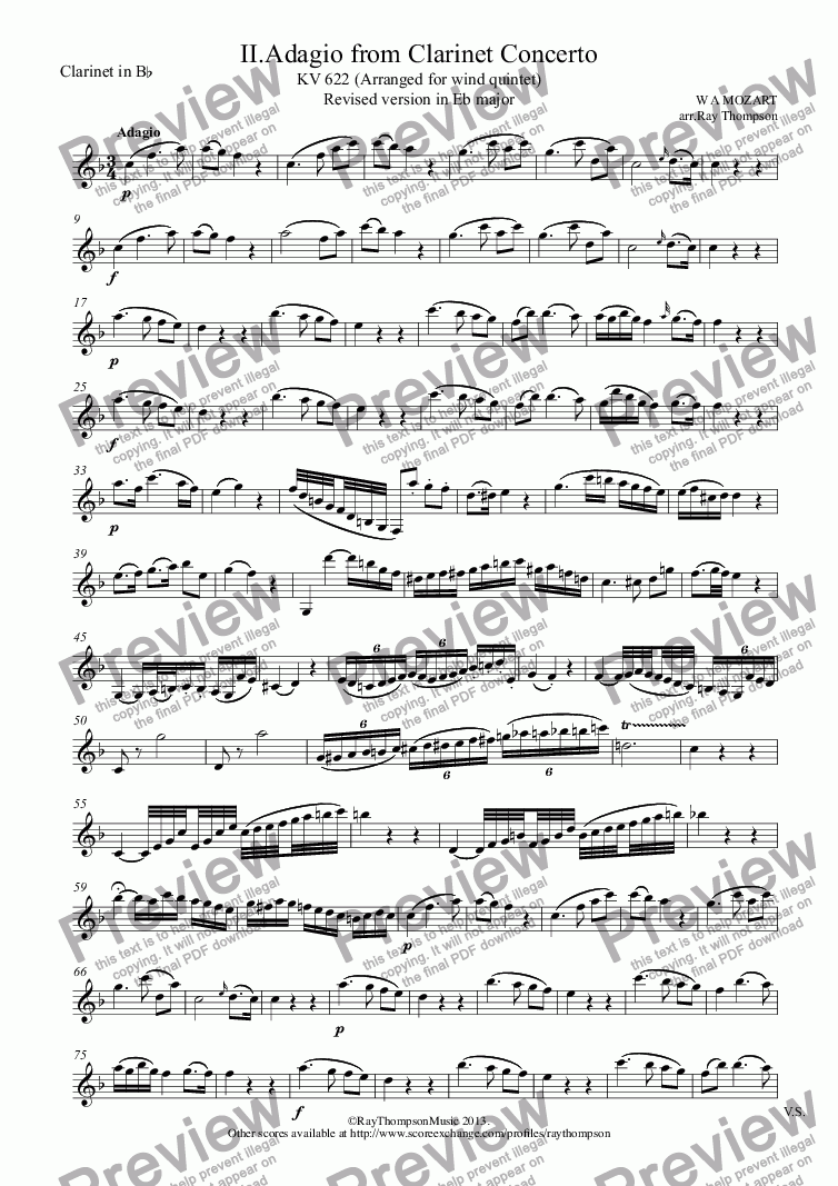 page one of the Clarinet in B^b part from Mozart: Clarinet Concerto: Mvt.II Adagio (transposed into Eb, inc. Cl in Bb) - wind quintet