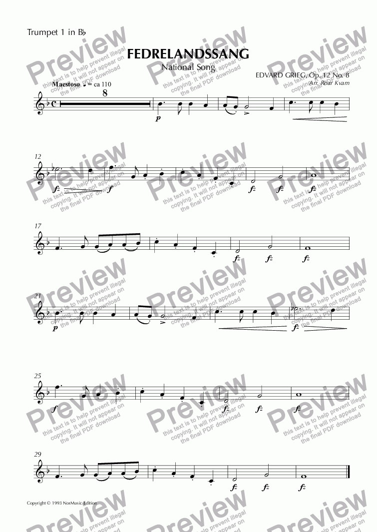 page one of the Trumpet 1 in B^b part from Grieg: Fedrelandssang/National Song (Brass Quintet)
