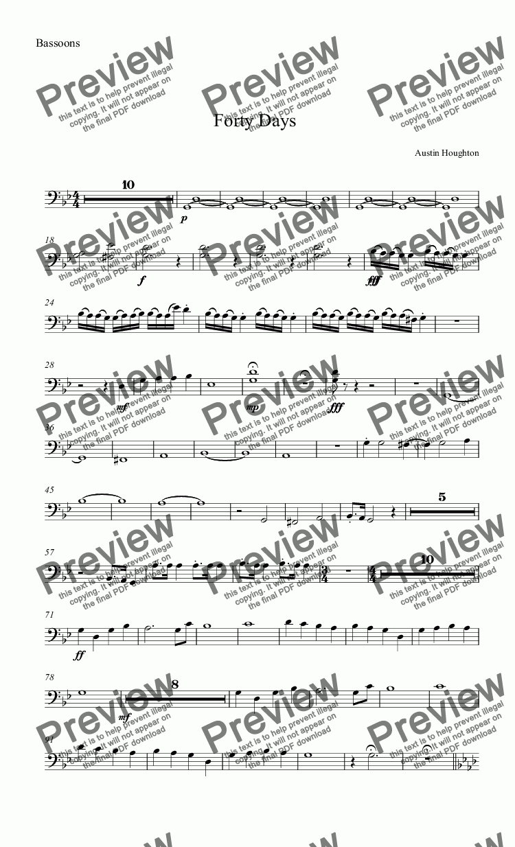 page one of the Bassoons part from Forty Days