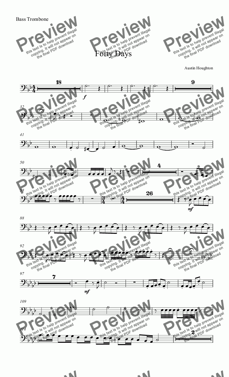 page one of the Bass Trombone part from Forty Days