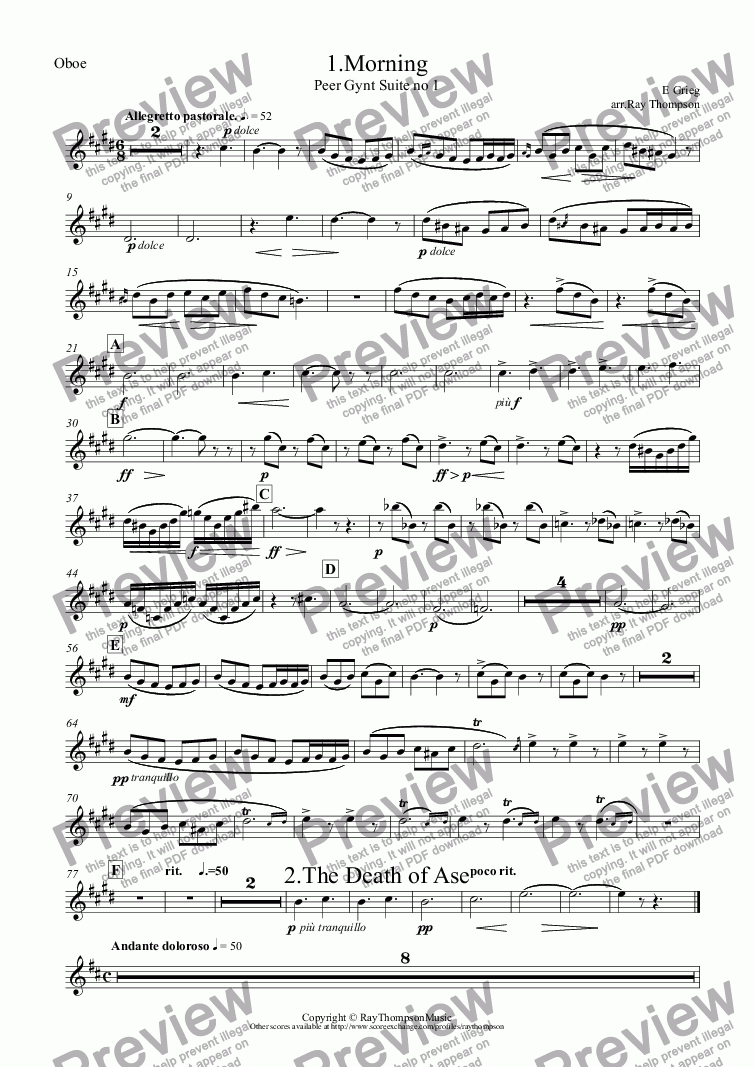 page one of the Oboe part from Peer Gynt Suite no 1 Op.46 (Complete): 1.Morning 2.Death of Ase 3.Anitra's Dance 4.In the Hall of the Mountain King