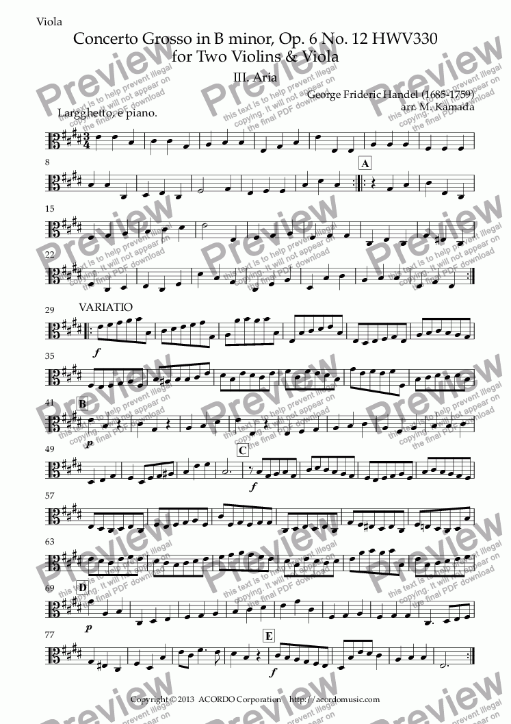 page one of the Viola part from Aria from Concerto Grosso, Op.6-12 HWV330 for Two Violins & Viola