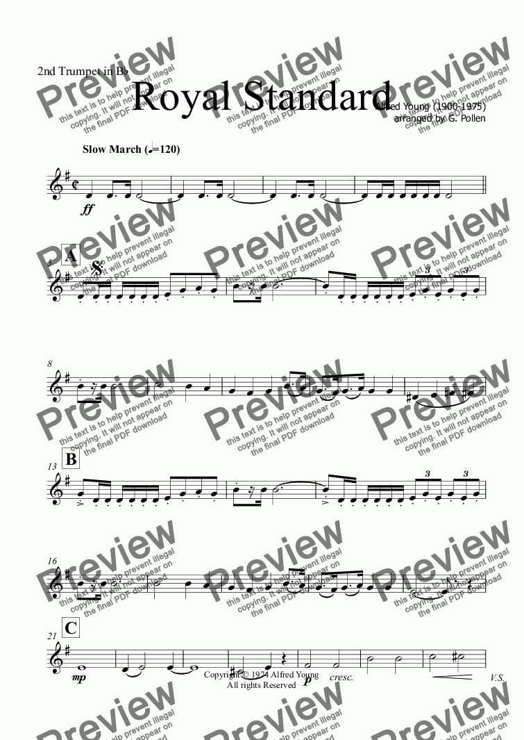 page one of the 2nd Trumpet in Bb part from March: Royal Standard