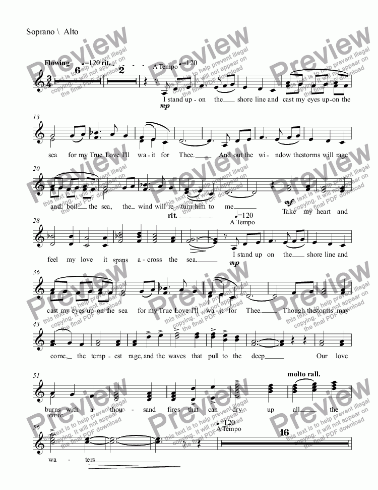 page one of the Soprano \  Alto part from Return To Thee