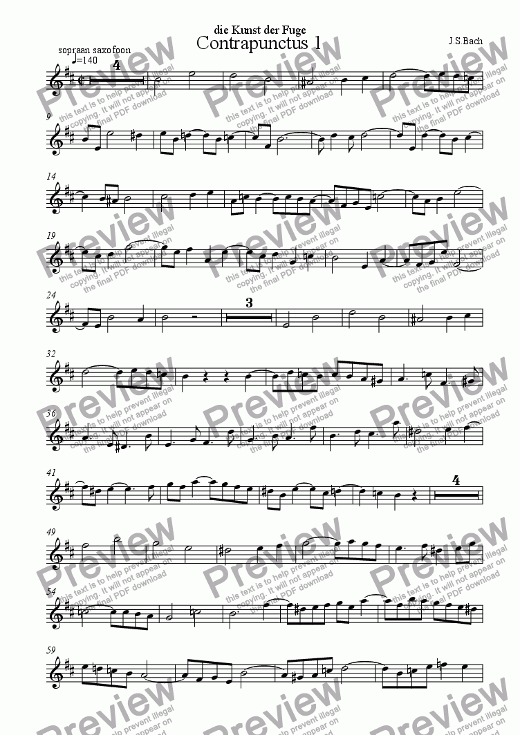 page one of the sopr.saxophone part from Contrapunctus 1 (die Kunst der Fuge)
