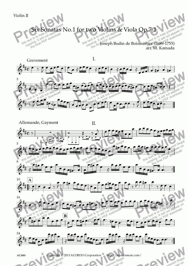 page one of the Violin II part from Six Sonatas No.1 for two Violins & Viola Op.7-1
