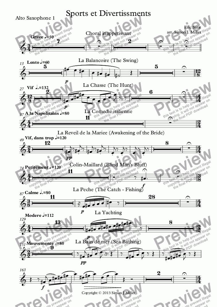 page one of the Alto Saxophone 1 part from Sports et Divertissements
