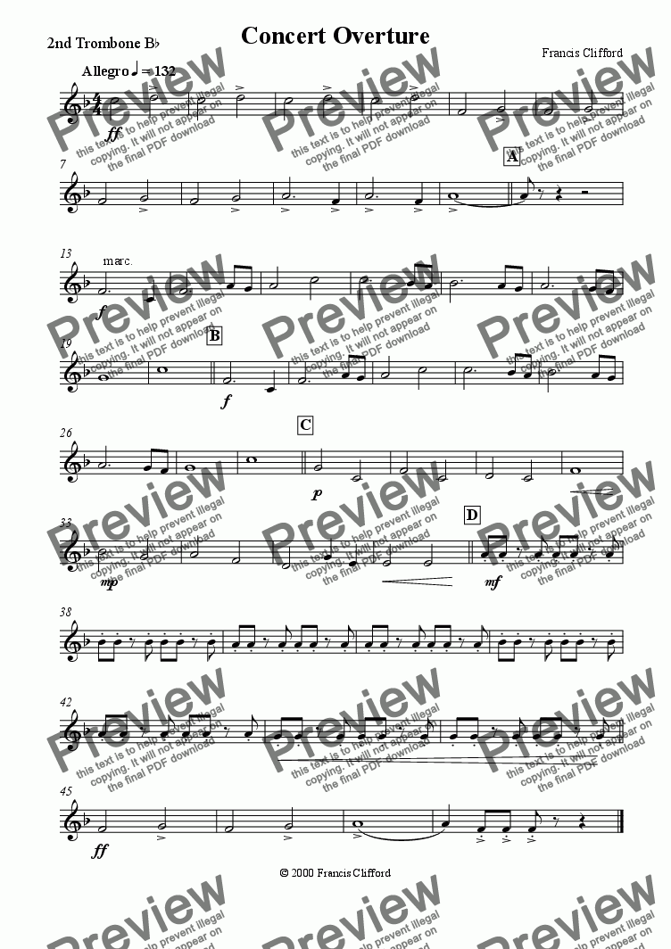 page one of the 2nd Trombone in Bb part from Concert Overture (10 Piece Brass)
