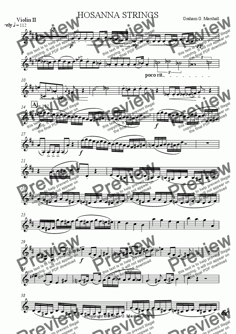 page one of the Violin 2 part from STRING HOSANNA