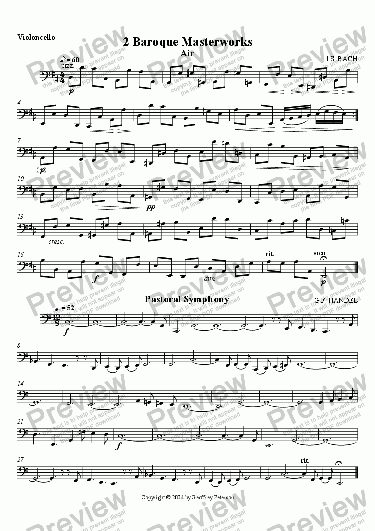 page one of the Violoncello part from Two Baroque Masterworks - String Quartet