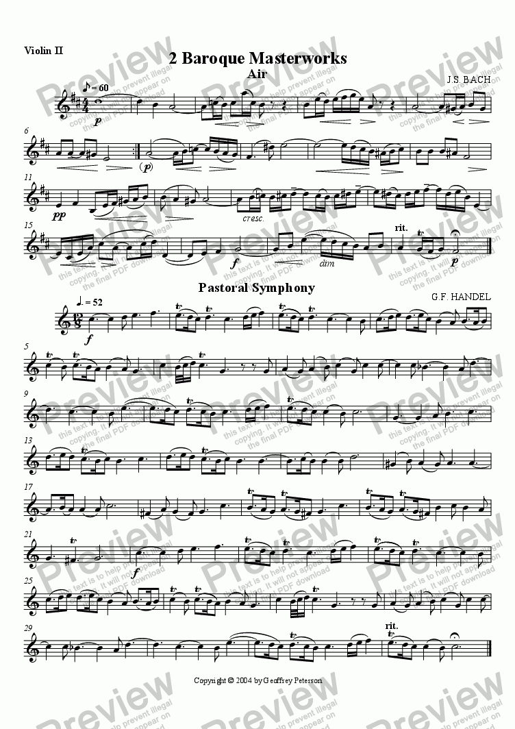page one of the Violin II part from Two Baroque Masterworks - String Quartet