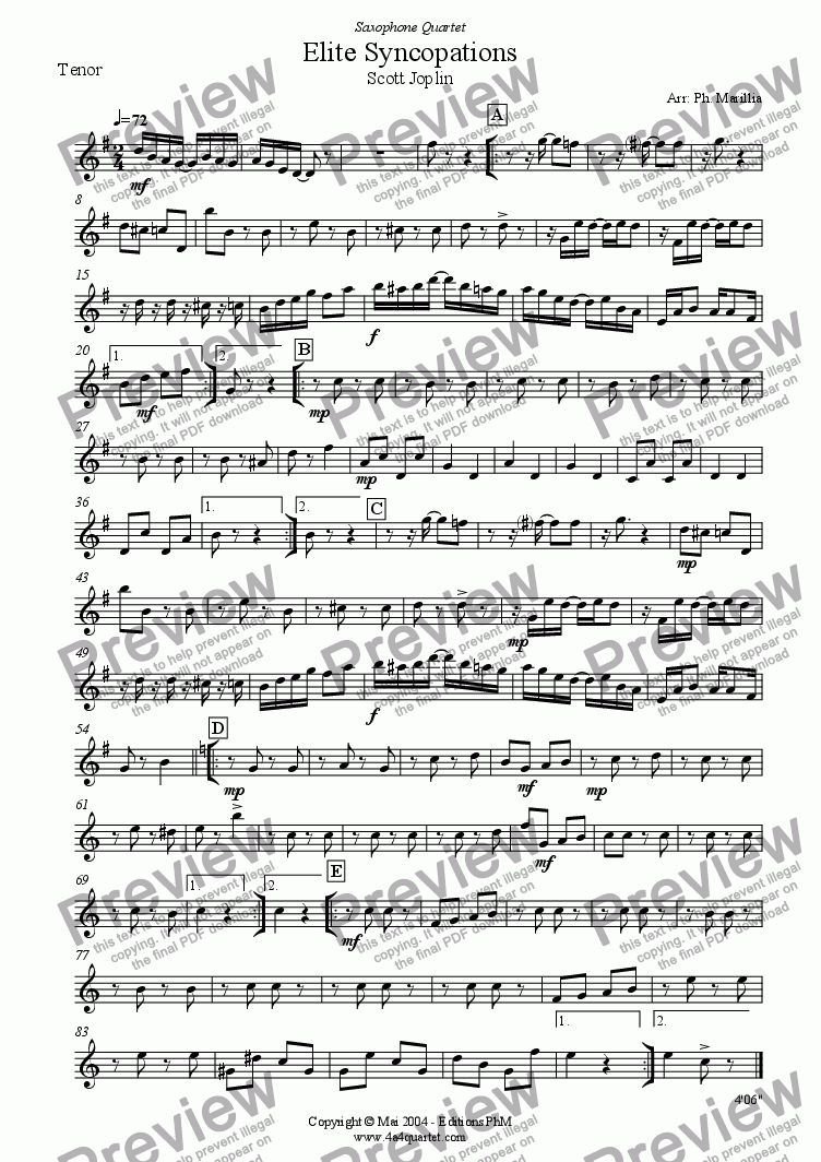page one of the Tenor part from Joplin - Elite Syncopations - Ragtime (Sax Quartet)