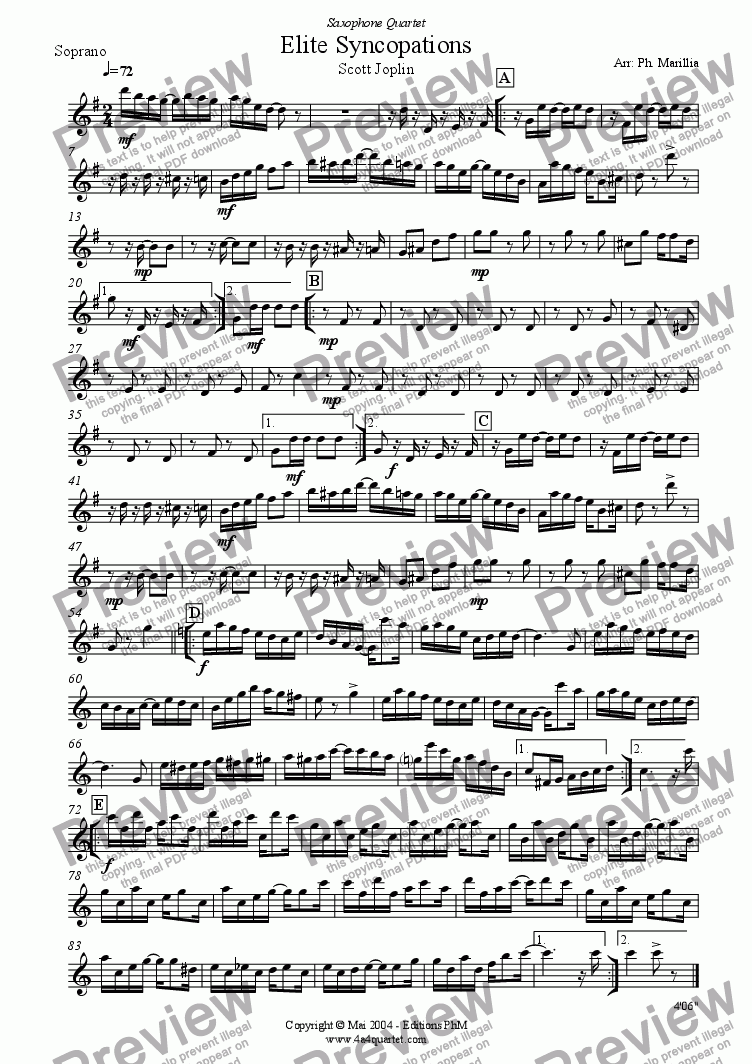 page one of the Soprano part from Joplin - Elite Syncopations - Ragtime (Sax Quartet)