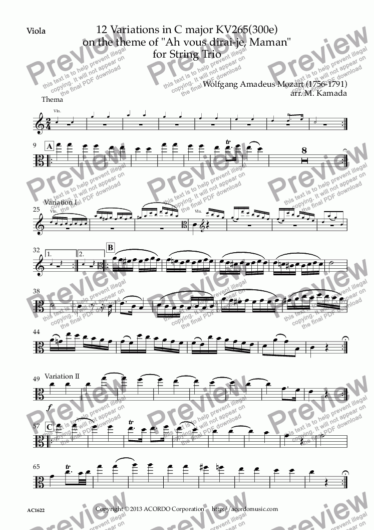"page one of the Viola part from 12 Variations in C major KV265(300e) on the theme of ""Ah vous dirai-je, Maman"" for String Trio"