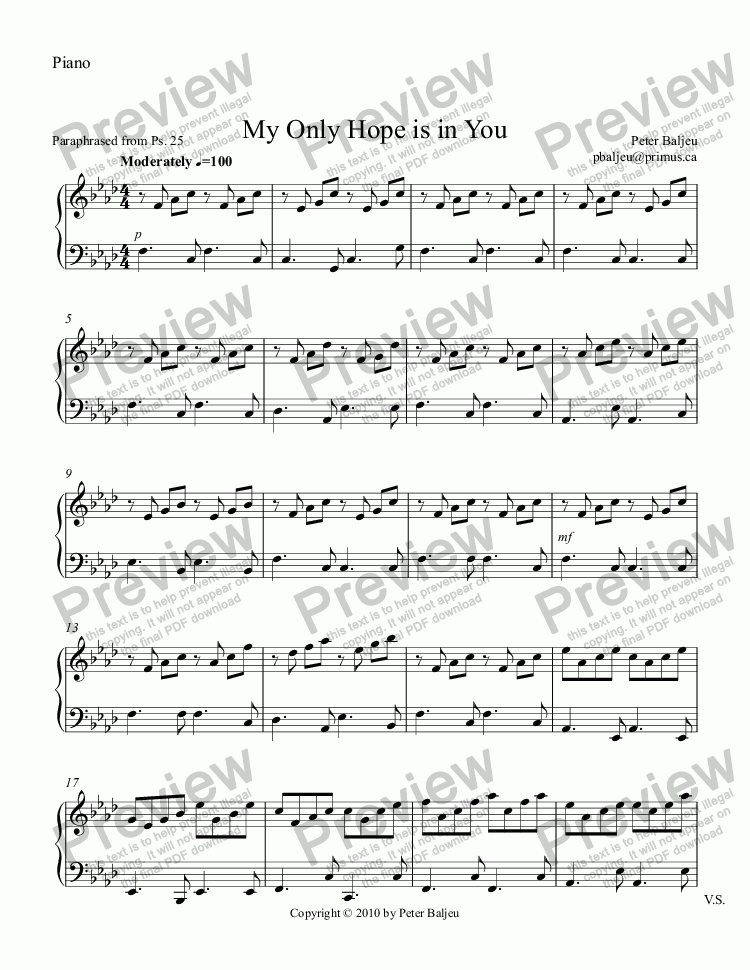 page one of the Piano part from My Only Hope is in You