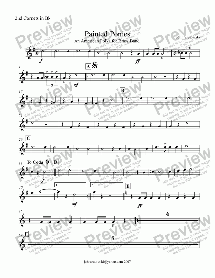 page one of the 2nd Cornets in Bb part from Painted Ponies   (An American Polka for Brass Band)