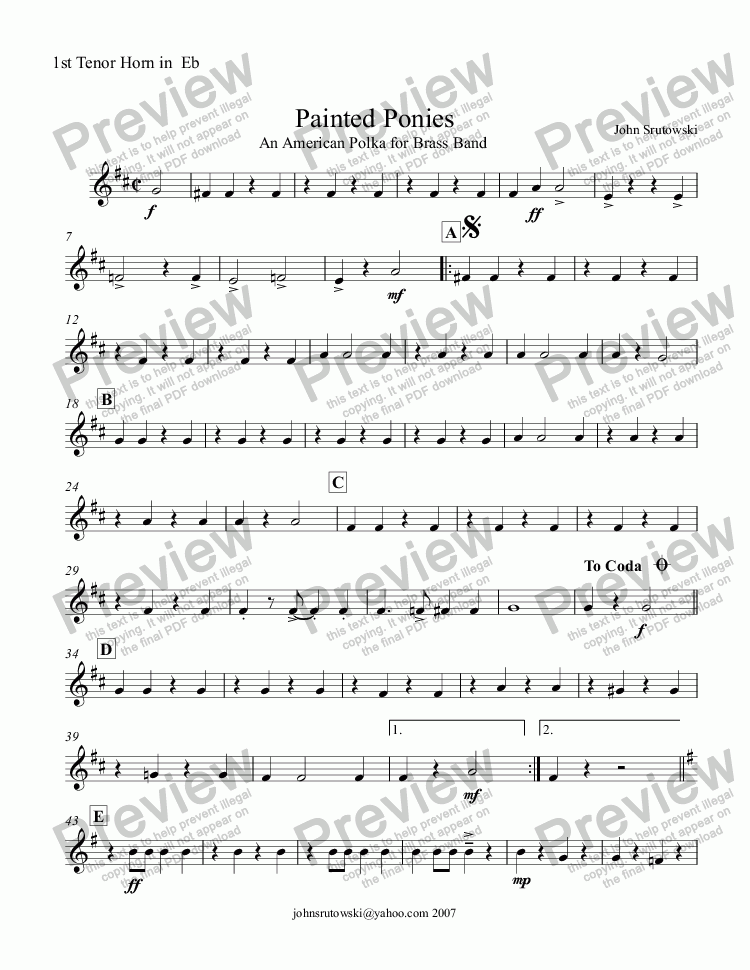 page one of the 1st Tenor Horn in  Eb part from Painted Ponies   (An American Polka for Brass Band)