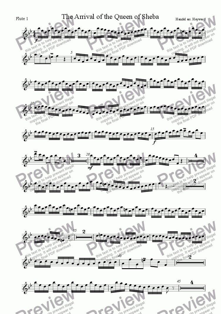 page one of the Flute 1 part from Arrival of the Queen of Sheba