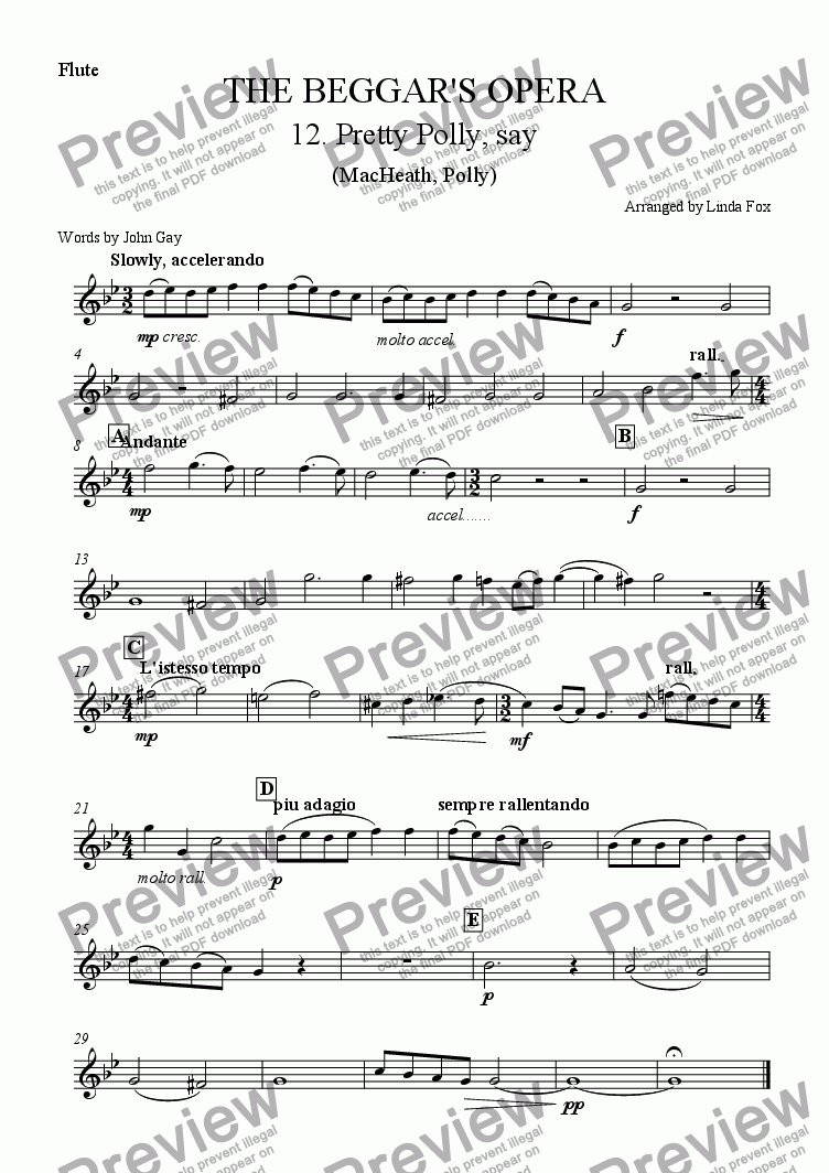 page one of the Flute part from The Beggar's Opera: 12. Pretty Polly, Say