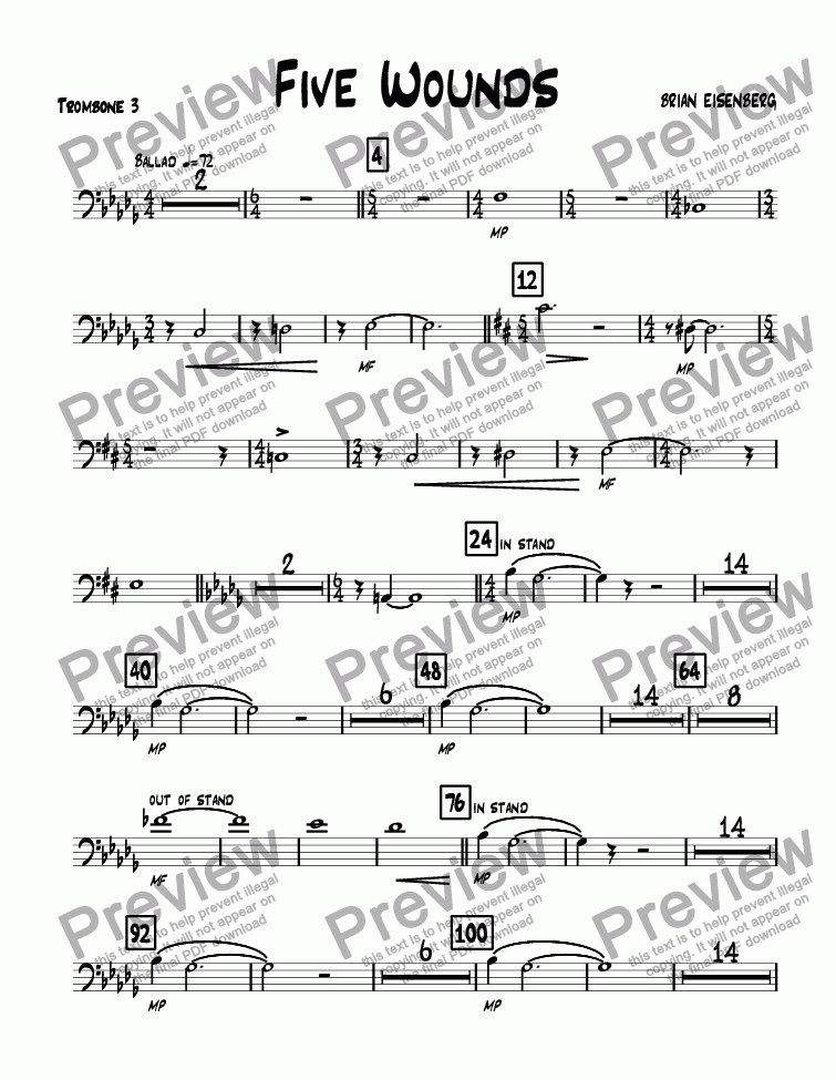 page one of the Trombone 3 part from Five Wounds