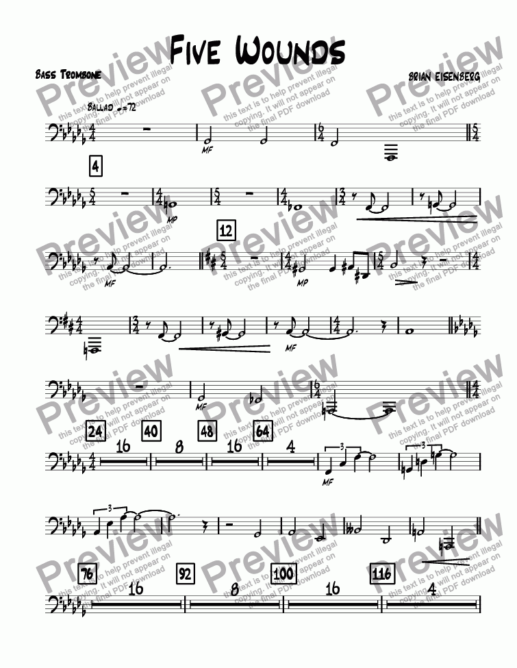 page one of the Bass Trombone part from Five Wounds