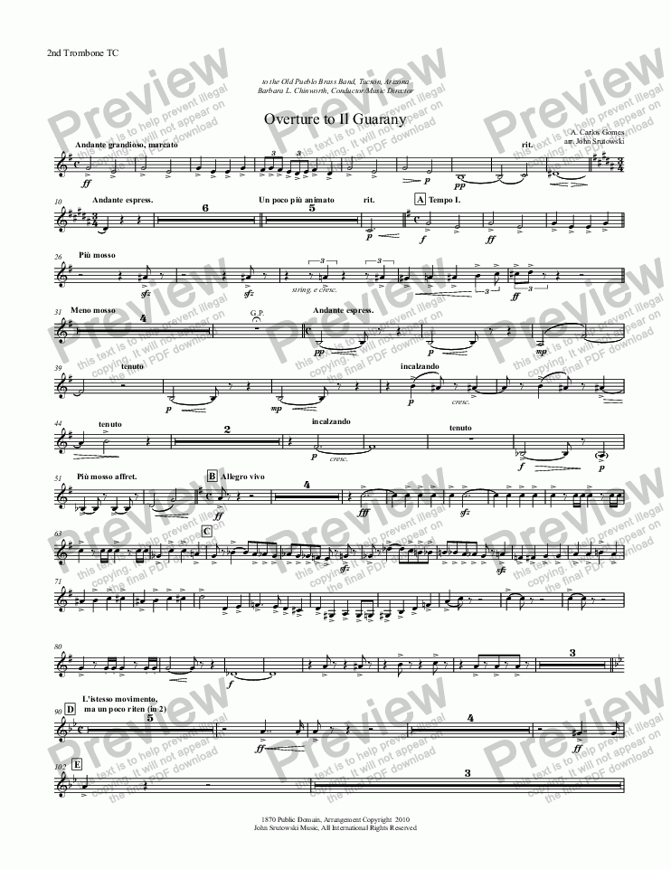 page one of the 2nd Trombone TC part from Overture to Il Guarany
