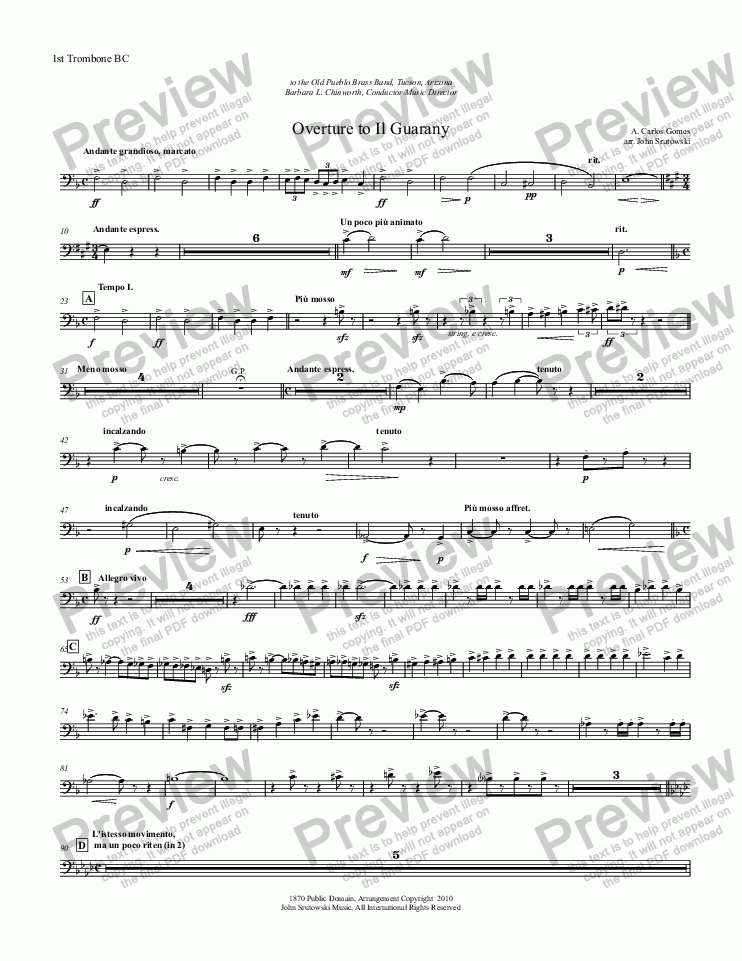 page one of the 1st Trombone BC part from Overture to Il Guarany