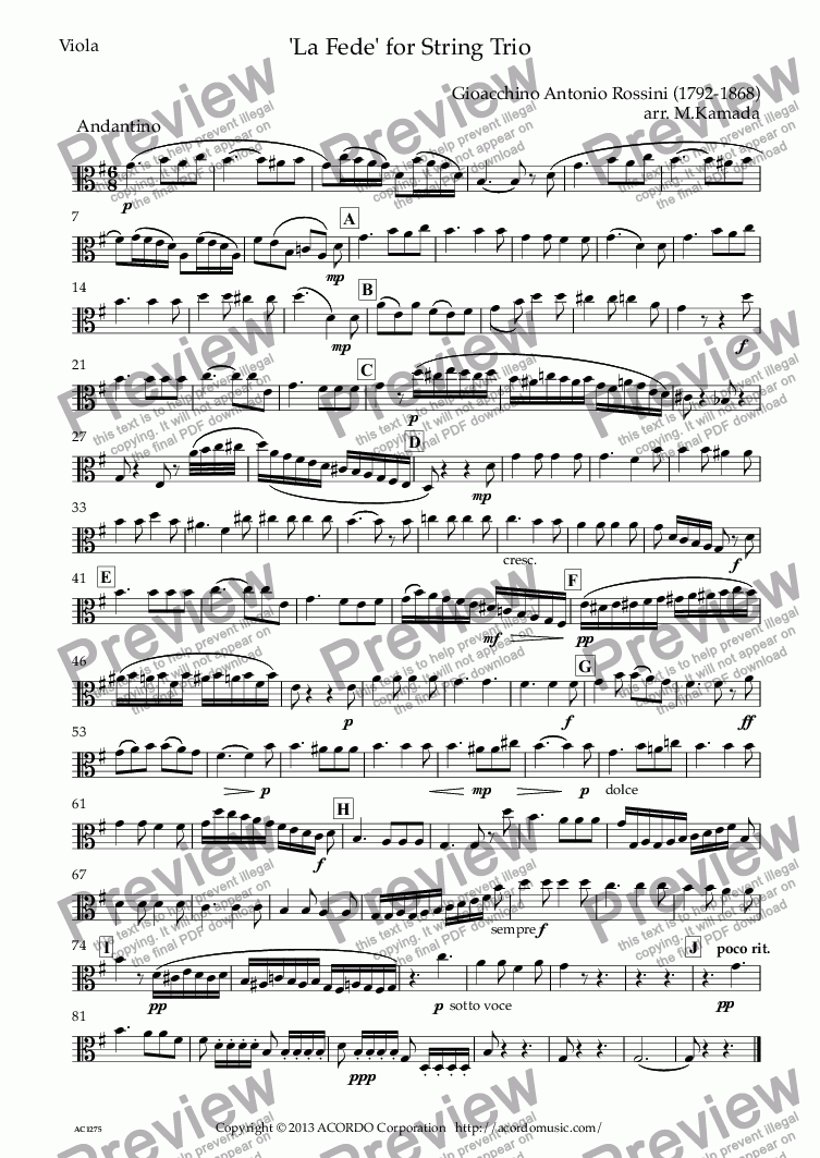 page one of the Viola part from La Fede for String Trio